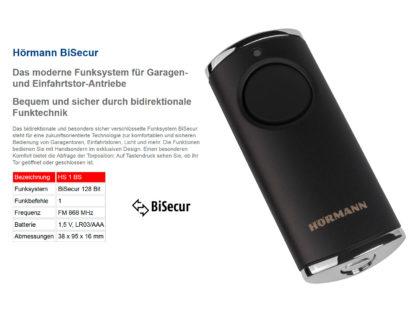 Hörmann HS1 BS Schwarz 1-Befehl Handsender BiSecur 868 Mhz 4511722 - Adams Tore & Antriebe - Sommer, Wisniowski, Hörmann Vertragshändler