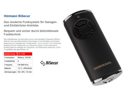 Hörmann HS4 BS Schwarz 4-Befehl Handsender BiSecur 868 Mhz 4511726 - Adams Tore & Antriebe - Sommer, Wisniowski, Hörmann Vertragshändler