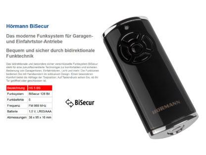 Hörmann HS5 BS Schwarz 5-Befehl Handsender BiSecur 868 Mhz 436764 - Adams Tore & Antriebe - Sommer, Wisniowski, Hörmann Vertragshändler