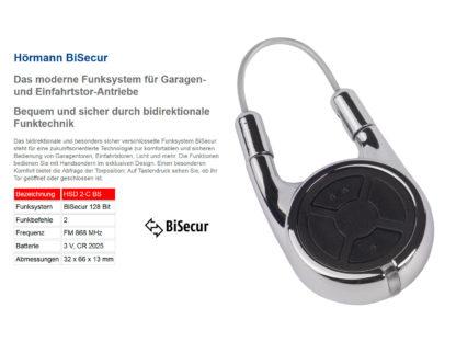 Hörmann HSD2 BS Chrom 2-Befehl Handsender BiSecur 868 Mhz 436803 - Adams Tore & Antriebe - Sommer, Wisniowski, Hörmann Vertragshändler