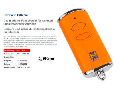 Hörmann HSE2 BS Orange 2-Befehl Handsender BiSecur 868 Mhz 436878 - Adams Tore & Antriebe - Sommer, Wisniowski, Hörmann Vertragshändler