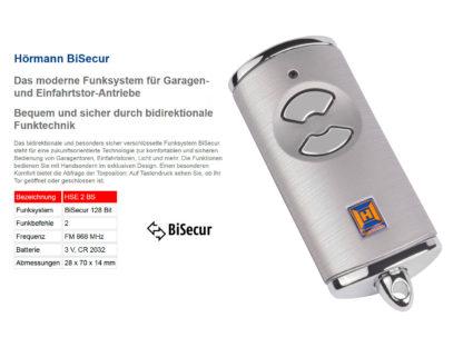 Hörmann HSE2 BS Silber 2-Befehl Handsender BiSecur 868 Mhz 436893 - Adams Tore & Antriebe - Sommer, Wisniowski, Hörmann Vertragshändler
